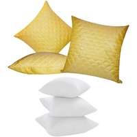Zikrak Exim Square Quilting Cushion With Fillers Yellow (6 Pcs Set)