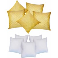 Zikrak Exim Square Quilting Cushion With Fillers Yellow (10 Pcs Set)