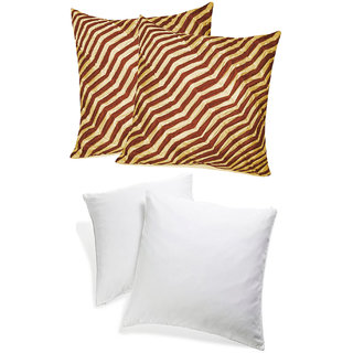 Zig Zag Pintucks Cushion With Fillers Beige & Brown (4 Pcs Set)
