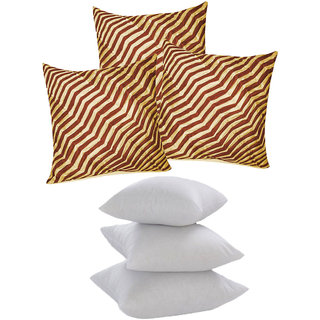 Zig Zag Pintucks Cushion With Fillers Beige  Brown (6 Pcs Set)