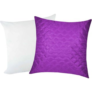 Zikrak Exim Square Quilting Cushion With Filler Purple (2 Pcs Set)