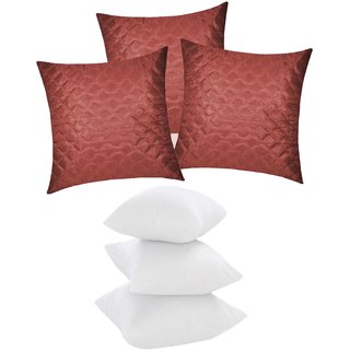 Zikrak Exim Square Quilting Cushion With Fillers Brown (6 Pcs Set)