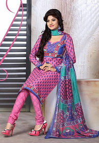 Urishilla Summer Special Pure Cotton Pink Printed Suit (Unstitched)