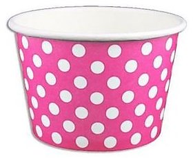 Pink Polka Dot Ice Cream Cups 8 Oz - 50 Count
