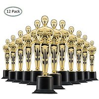 Prextex Gold 6 Award Trophies (12 Pack) With 12 Gold Wi