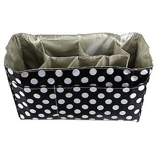 ilovebaby Baby Diaper Bag Insert Organizer with 14 x 6.4 x 8 inch Diaper Changing Pad Value Combo Storage Bag Unattached Dividers Durable Waterproof Black In Color With White Dots