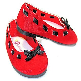 Red Ballet Shoes Black Bow Fits Most 18 Inch Dolls