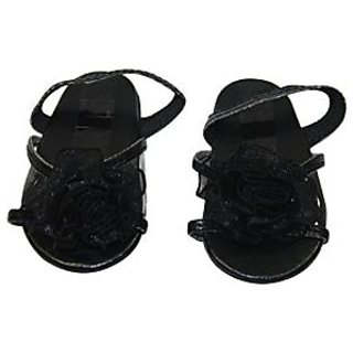 Black High Kitten Heel Flower Sandal Fits Most 18 Inch Dolls