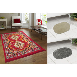 Azaani Beautiful Red Quilted Jute Carpet Witth 2 Oval Cotton Bathmat
