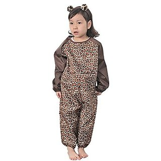 Plie Little Girls Waterproof All In One Solid Sleeve Art Smock Large Brown Animal Print