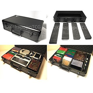 A2 Black Metal Storage Carry Case Kakapopo Tcg For Trading Cards Tcg Ultra Pro Deck Box Cube Protector Sleeve Toploader Mtg Cube Magic The Gathering Ygo Yugioh Board Games Wow Pokemon Dice Counter Rpg