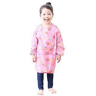 Plie Little Girls Waterproof Art Smock With Sleeves Small Pink Animal