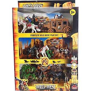 16 Pcs Cowboys Western Figures Plastic Toys