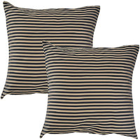 """Home Kouture Stripetease Black-Gold Cushion Cover (16"""" By 16"""")"""