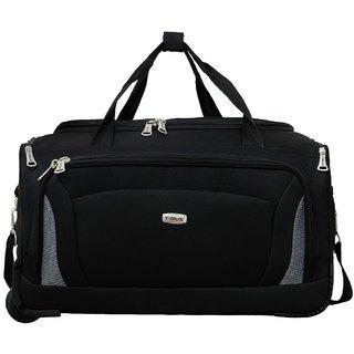 457d1213c54 Timus Morocco 55 Cm Black 2 Wheel Duffle Trolley Bag For Travel (Cabin -Small  Luggage)