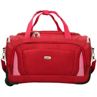 Timus Morocco 55 Cm Red 2 Wheel Duffle Trolley Bag For Travel (Cabin -Small Luggage)