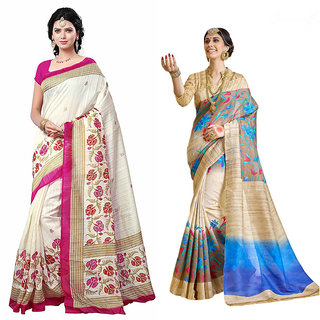 Vistaar Creation Multicolor Printed Bhagalpuri Silk Combo Sarees(Combo Of 2 )