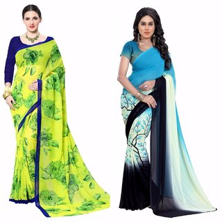 Vistaar Creation Multicolor Printed Georgette Combo Sarees(Combo Of 2 )