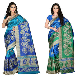 Vistaar Creation Multicolor Printed Art Silk Combo Sarees(Combo Of 2 )
