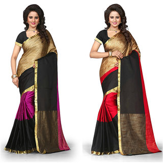 Vistaar Creation Multicolor Printed PollyCotton Silk Combo Sarees(Combo Of 2 )