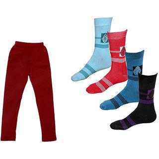 IndLTeaves Girls Cotton Leggings and Socks Combo (Pack of 1 Legging and 4 Pair Socks)
