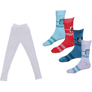 IndLTeaves Girls Cotton Leggings and Socks Combo (Pack of 1 Legging and 4 Pair Socks)