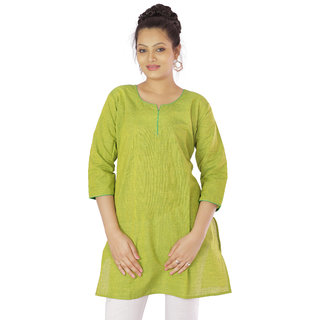 Green Plain Cotton Stitched Kurti