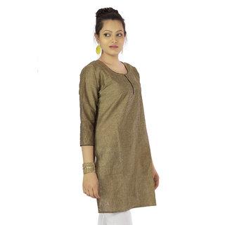 Brown Plain Cotton Stitched Kurti