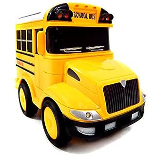 Power Trc R/C School Bus Radio Control Toy Car For Kids With Steering Wheel Remote, Lights And Sounds