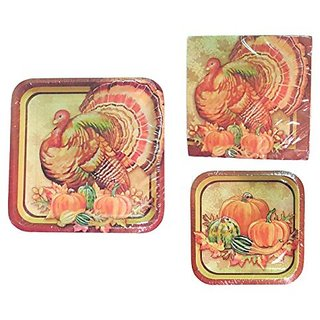 Thanksgiving Turkey Banquet Party Bundle For 10 People: 10 Disposable Dinner Plates, 10 Dessert Plates, 20 Dinner Napkins