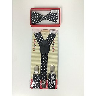 Kid Suspender Bow Tie Matching Colors Tuxedo Classic Pure Plain Neckwear Adjustable Unisex Combo Set Black with White Polka Dot