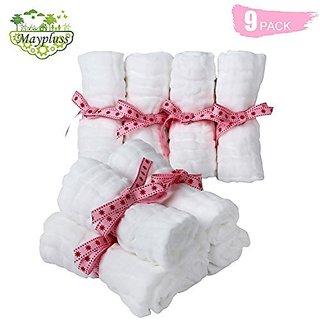 Organics Baby Washcloths, Premium Reusable Wipes - Extra Soft For Sensitive Skin,Newborn Muslin Warm Baby Bath Towels Pure White