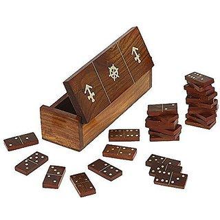 Prisha India Craft Best Quality Handmade Wooden Domino Game Set With 28 Dominoes , Nautical Storage Box