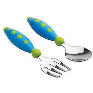 Gerber Graduates Safety Fork and Spoon Set, Blue