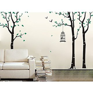 Pop Decors PT-0054VB Beautiful Wall Decals, Three Birch trees and Birdcage