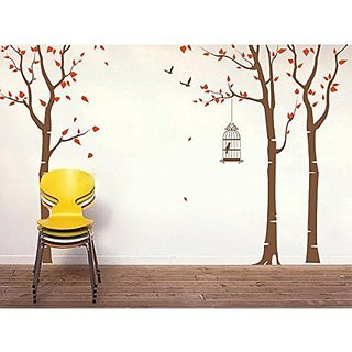 Pop Decors PT-0054VC Beautiful Wall Decals, Three Birch Trees and Birdcage