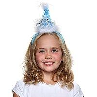 Girls Princess Tiara Cone Hat Headband, Blue