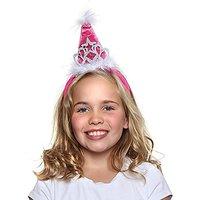 Girls Princess Tiara Cone Hat Headband, Hot Pink