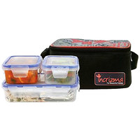 Incrizma Yummy Deluxe Lunch Box- 3 Pc Set With Insulated Pouch