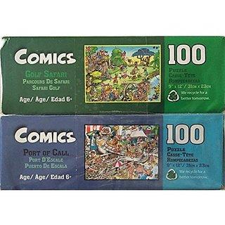 Bundle Lot of 2 Comics 100 Piece Jigsaw Puzzles by Papercity Puzzles: Golf Safari