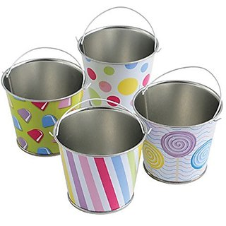 Lot Of 12 Assorted Candy Theme Mini Metal Bucket Party Favors