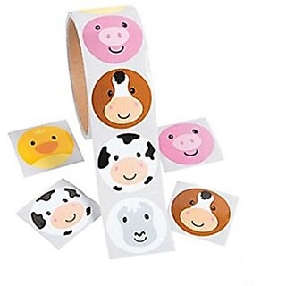 Farm Face Animal Stickers Roll Of 100