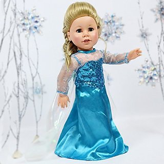 Elsa Princess Blue Princess Dress For 18 Inch Dolls American Girl Doll Clothes