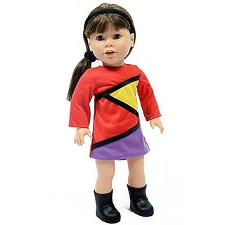 18 Inch Doll Colorbloc Dress With Matching Headband Fits American Girl Dolls