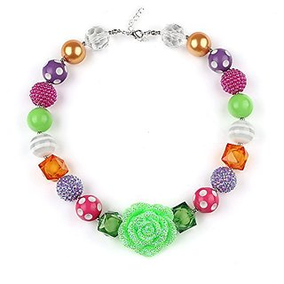 Bouren Girls Green Rose Pendant Chunky Bubblegum Bead Flower Necklace