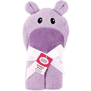 Luvable Friends Animal Face Hooded Woven Terry Baby Towel N/A HIPPO