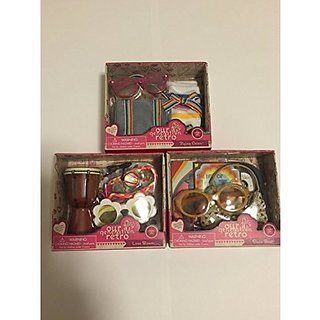 Our Generation Doll Retro Accessories Bundle 3 Pack. Includes Disco Beat, Loves Blooms, and Flying Colors.