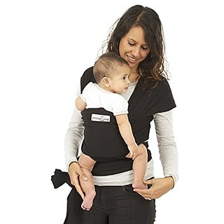 me Original Baby Wrap Carrier - Soft Stretch Natural Cotton Sling for Babies (Black)