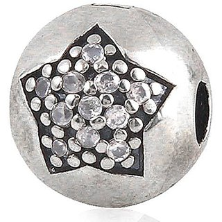 Star Charm Clip 925 Sterling Silver Zircon Stone Bead for European Bracelet Jewelry