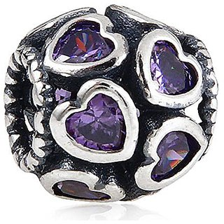 Love All Around 925 Sterling Silver with Purple Zircon Stone Bead for European Brand Bracelet Compatible